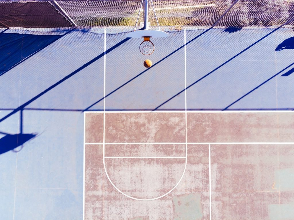 basketball hoop aerial view